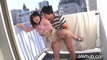 javhub japanese adolescent fucked at the balcony from behind