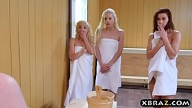 three young hotties share a hard monstercock in a sauna