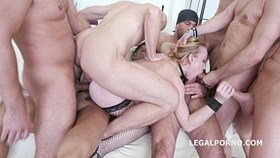 Hot Slut Lindsay Sharon 7on1 Double Anal GangBang in Daisy Dukes shor