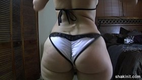 juicy bubble butt shake in lingerie and stockin